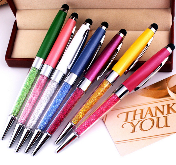 Free Shipping 2 in 1 Crystal pen Diamond ballpoint pen Stationery crystal stylus touch pen Wholesale 5pcs/Lot