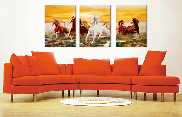 unframed art picture 3 Pieces Home decoration Canvas Prints taxi dancer flower tree horse woods waterfall forest rays Lotus writing brush