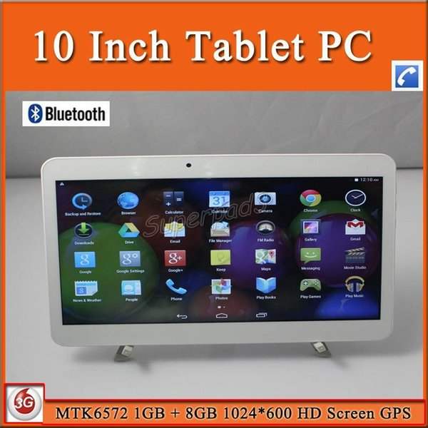 10 Inch Android 3G Phablet MTK6572 Dual Core Android 4.4 GSM WCDMA Unlocked Phone Call Tablet PC 1GB 8GB ROM 1024*600 HD