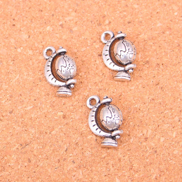 63pcs Antique Silver Plated tellurian globe Charms Pendants for European Bracelet Jewelry Making DIY Handmade 17*12mm