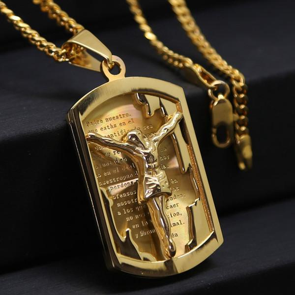 Gold chain for men jesus piece trendy fine 18k gold plated stainless gold chain for men jesus piece trendy fine 18k gold plated stainless steel crucifix jesus necklace mozeypictures Images