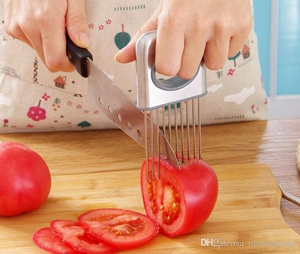 Tomato Slicer stainless steel Fruits Cutter Tool Perfect Slicer Tomato Potato Onion Holder Slicer Lemon Cutting Holder