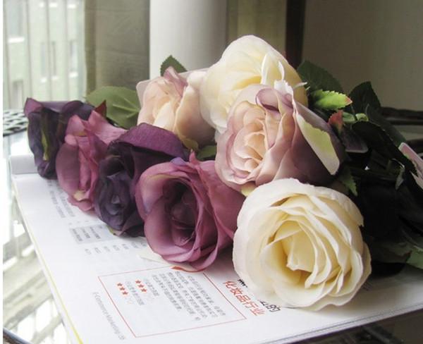 Caduta stile europeo Satin Roses 15pcs MOQ rose di seta di alta qualità simulazione rosa fiori decorativi decorazioni per la casa per la cerimonia nuziale