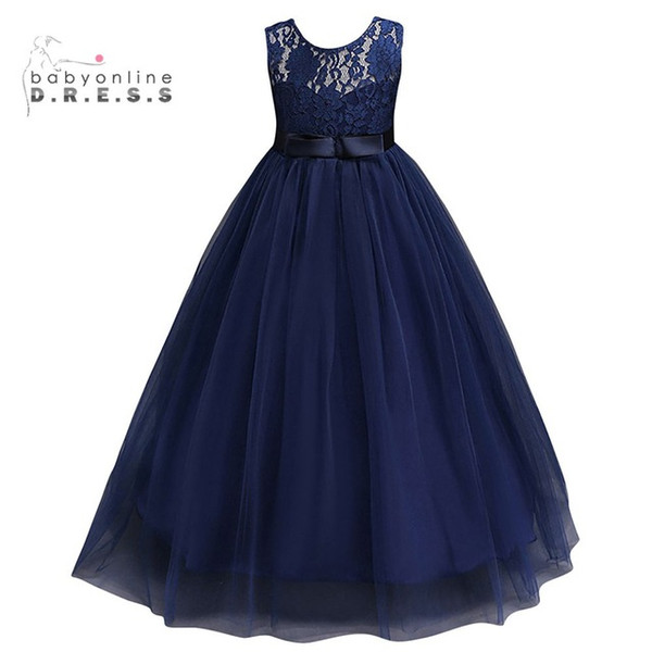 best selling Navy Blue Cheap Flower Girl Dresses 2019 In Stock Princess A Line Sleeveless Kids Toddler First Communion Dress with Sash MC0889