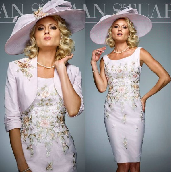 Pink Embroidery Short Mother of the Bride Dress with Jacket Scoop Neck Half Sleeve Taffeta Plus Size Evening Dress