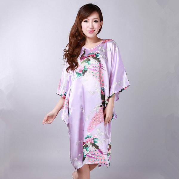Atacado-Light Purple Plus Size das Mulheres de Cetim Rayon Robe Vestido Sexy Camisola de Verão Casuais Casa Vestido Mujer Pijamas FlowerPeacock S003-A
