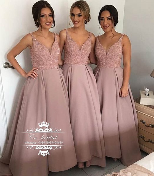 Sexy V-neck Long Bridesmaid Dress With Shining Beading Garden Country Style A-line Maid of the Honor Dress Cheap Wedding Party Gowns BD21