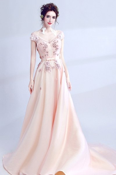 2018 Blush Lace Prom Dresses Cap Sleeves A-line Pearls Evening Dresses Backless Vintage Sexy Formal Party Gowns
