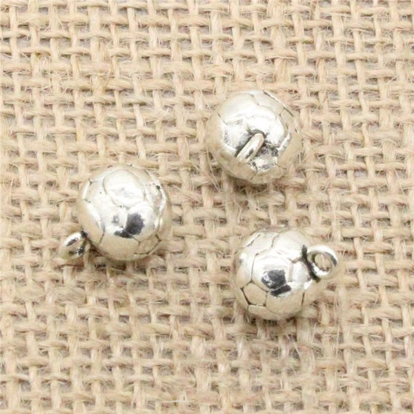 Wholesale 42pcs Charms Tibetan Silver Plated 3D football 11mm Pendant for Jewelry DIY Hand Made Fitting