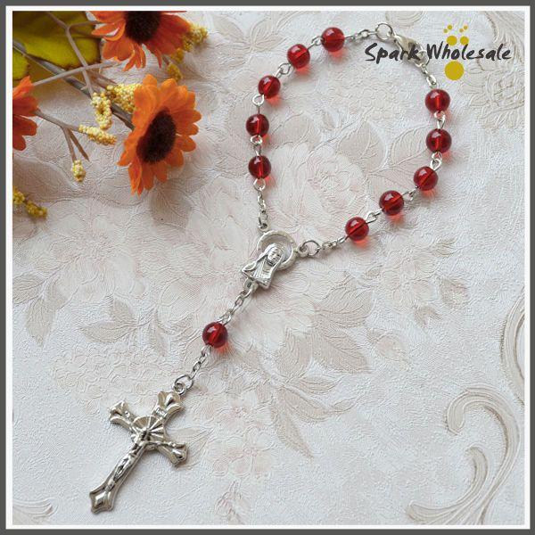 Großhandel Katholische Rosenkranz 6mm Rote Glasperlen Mädchen Rosenkranz Armband Kinder Erste Kommunion Geschenke Kommunion Taufe Gefälligkeiten