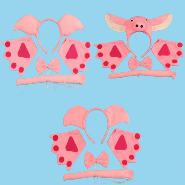 Animal Pig Baby Children Party Headbands Ears Tie Bow Tie Gloves Headband Hair Accessories Kids Cute Hairbands for Girls Bow