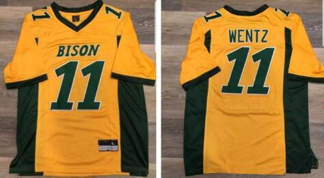new arrival 91b21 e2dc0 Acheter Top Qualité Personnalisé # 11 Carson Wentz Jersey Dakota Du Nord  État Bison Jaune Vert Accueil Couleur Shirt All Stitched College Football  ...