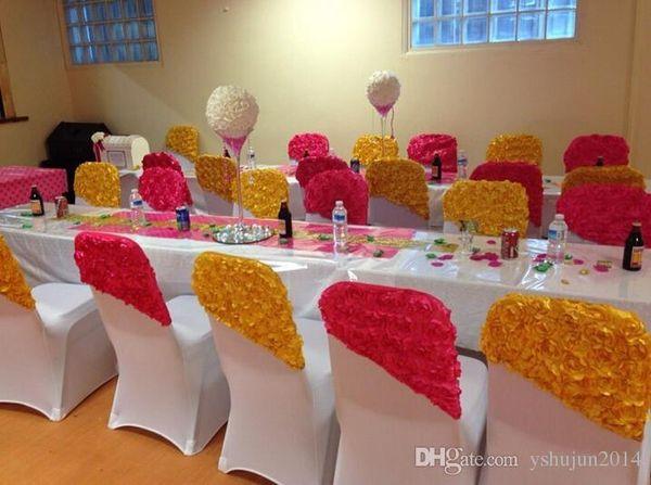 Fuscia Viola Finito Prodotto Sedia Fusciacche per Beach Wedding Decorazioni per feste 3D Rose Celebrations Decor Seta per sedia per banchetti