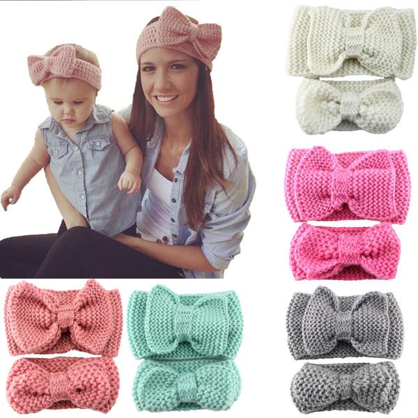 Bébé bandeau Bow cheveux accessoires laine fil weave artisanat Mère fille parent-enfant Femmes bandeau européenne 2016 2 pcs ensemble