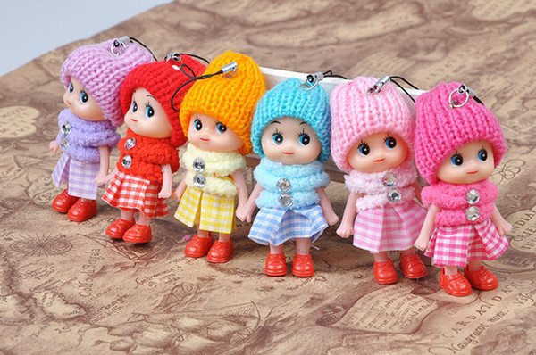 top popular 8cm Kids toys pendant dolls baby doll with cloth for girls 6 colors mix free shipping 2021