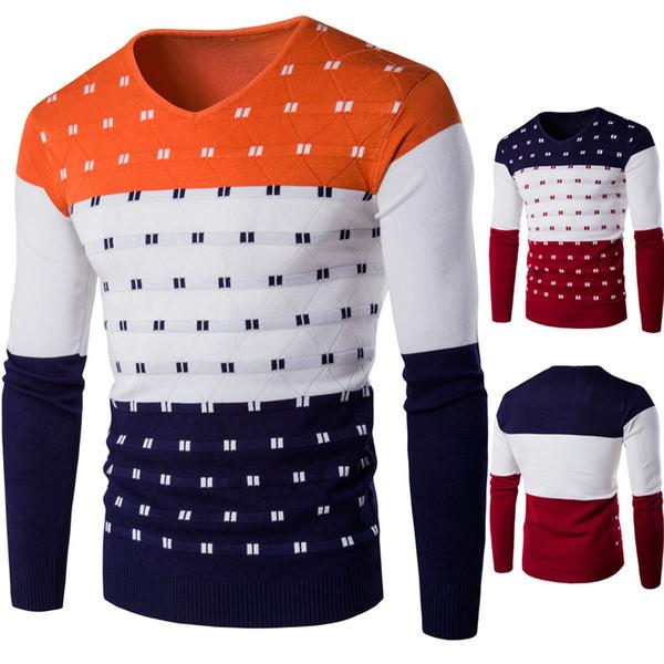 Men Knitwear Autumn Warm Pullover Sweater For Mens V-Neck Long Sleeve Personalize Men Sweater Cotton Slim Men Knitwear J161014