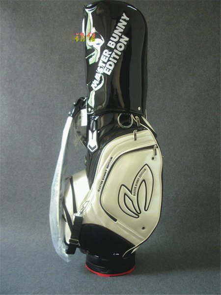 best selling high quality crystal pu leather golf bag white black golf cart bag