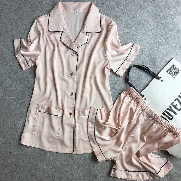Оптовая продажа-2016 взрыв женский с коротким рукавом шорты шелковый атлас пижамы домашнего интерьера носить удобные и дышащие