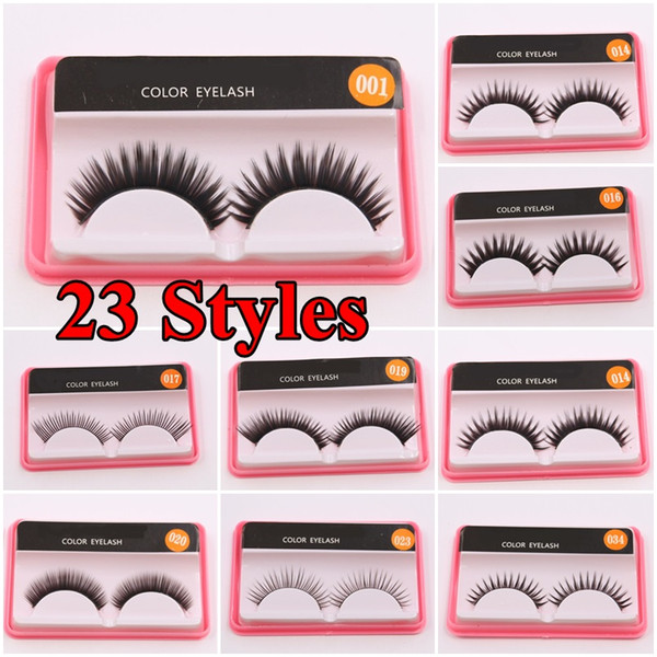 23 styles Eye lashes Natural Beauty Eye Makeup False Eyelashes Handmade False Eyelashes Nature long thick makeup lashes with packaging box