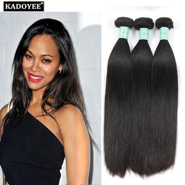 Cheveux vierges péruviens 100% Extensions de cheveux humains 3bundles droites trames de cheveux humains 8A brésilien péruvien Straight 100g