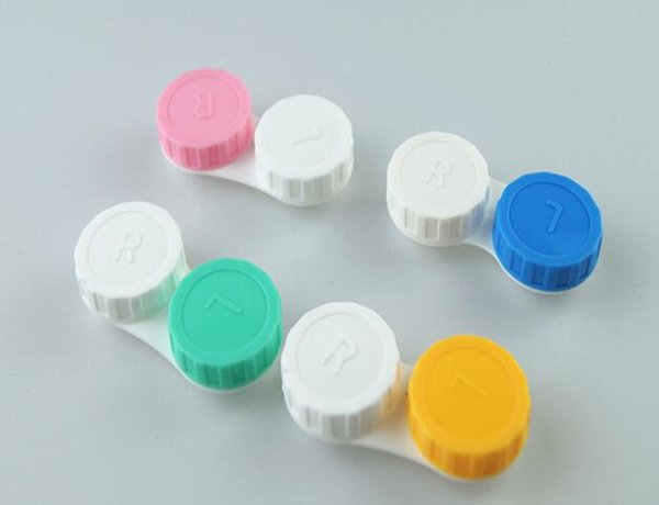 Free shipping best Price 3000pairs contact Lens Case lovely Colorful Dual Box Double Case Lens Soaking Case