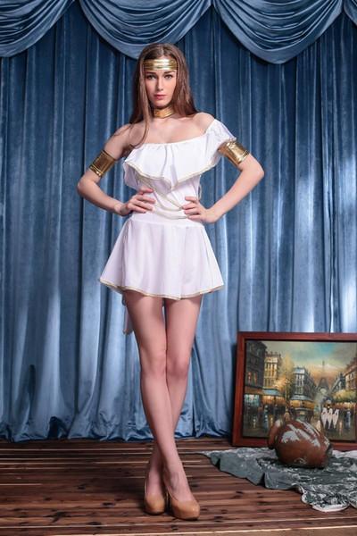 Sexy Erwachsene Frauen Griechische Göttin Kostüme Weiß Fancy Halloween Party Antike Griechische Göttin Kostüme