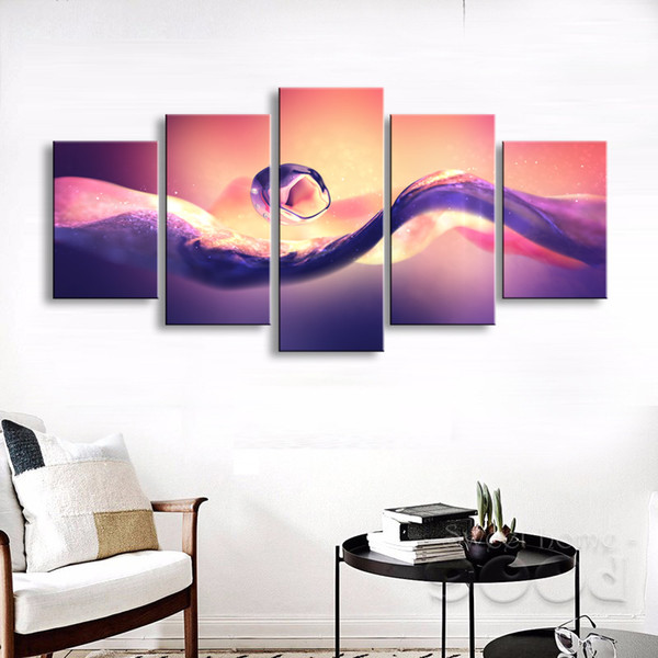5 pieces high-definition print abstract Water Drops canvas oil painting poster and wall art living room picture PL5-166