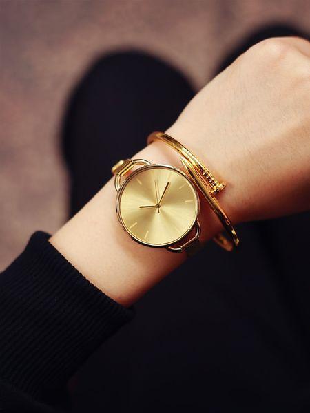 2017 Luxus Goldene Frauen Kleid Armbanduhren Marke Damen Ultra Slim Edelstahl Mesh Mini Armband Gold Quarz Stunden Kostenloser Versand