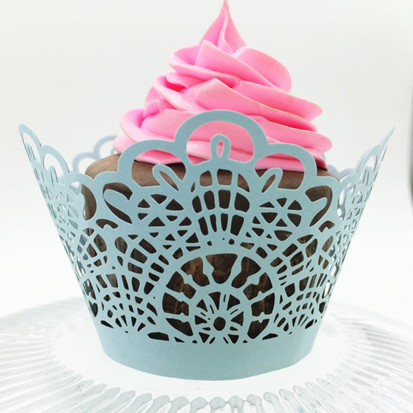 Blue lace rutic valentine's day wed cupcake wrappers color paper mini cupcakes cup cake baking cups wrapper free shipping