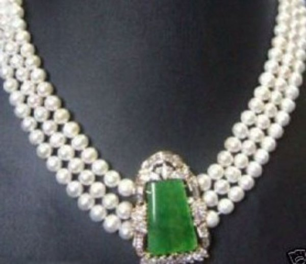 2016 vendita calda perla braccialetto di giada anello collana orecchino pendente sorprendentemente perla d'acqua dolce Collana smeraldo 17