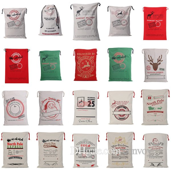 top popular 20 Types Christmas Large Canvas Santa Claus Drawstring Bags With Reindeers Monogramable Xmas Gifts Packing Bags Free DHL CFB08 2019