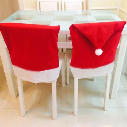 christmas Chair Covers Santa Clause Red Hat for Dinner Decor Home Decorations Ornaments Supplies Dinner Table Party Decor 100pcs