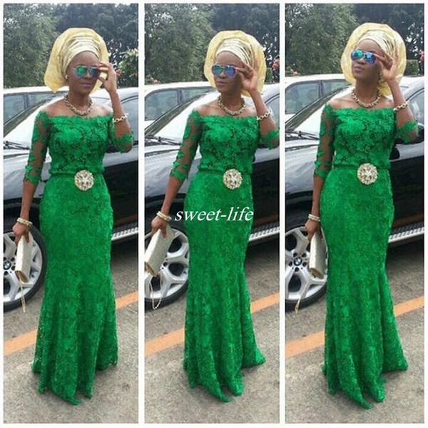 Lace Arabic Emerald Green Prom Dresses Long Sleeve 2016 African Fashion Off Shoulder Mermaid Beaded Nigerian Styles Bellanaija Evening Gowns
