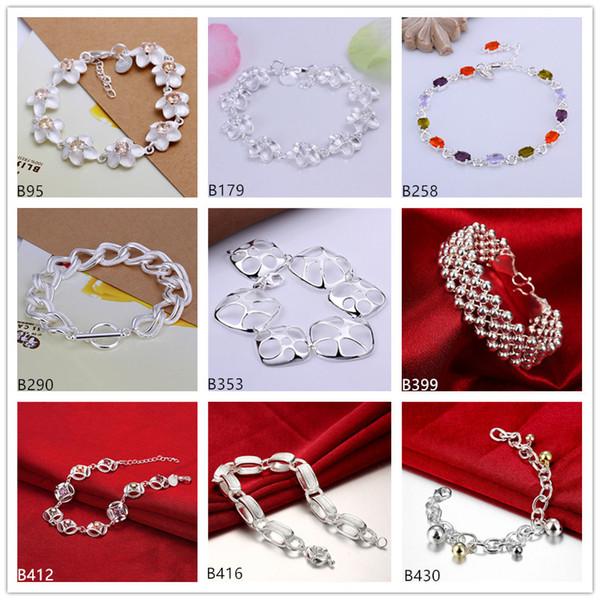 Pièces de fleurs plus de perles bracelet en argent sterling 8 pièces de style mélangé GTB20 en ligne pour vente bracelet en argent de la pierre gemme 925