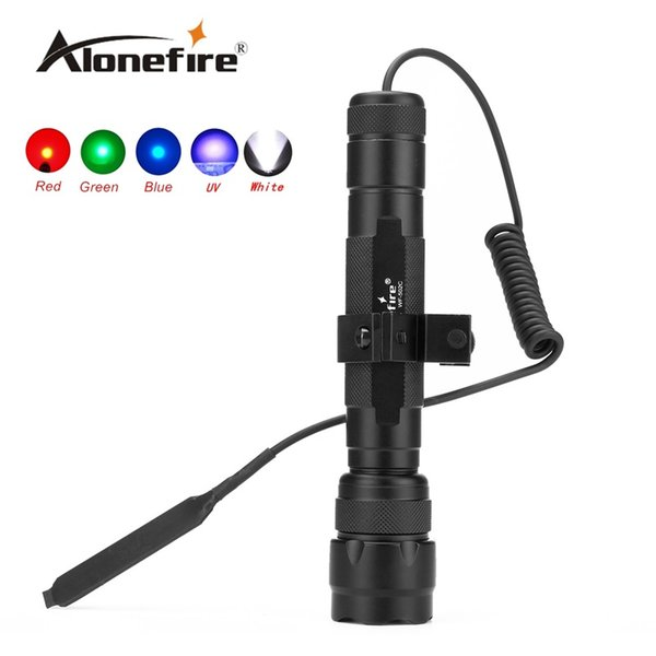502C 1set LED Tactical Flashlight Torch Hunting Light with gun scope mounts and remote pressure switch