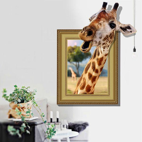 Adesivi Murali Finte Finestre.Acquista 3d Finte Finestre Giraffe Animali Adesivi Murali