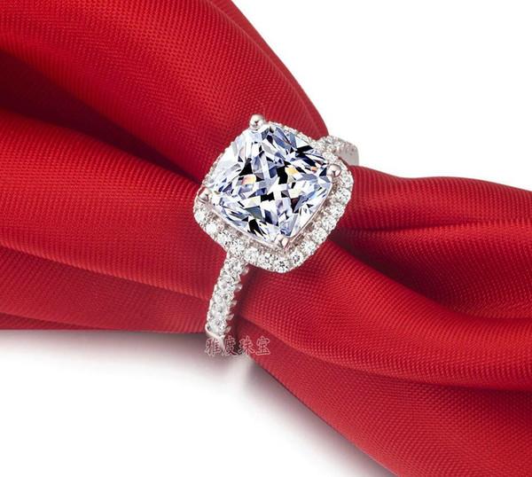 verdadero buen certificado de EE.UU. GIA SONA taladro de diamante tres generaciones IJ color 3 quilates, anillo de platino plateado mujer