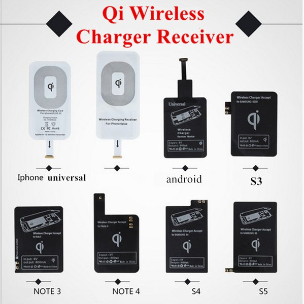 top popular Qi Wireless Charger Receiver Module High Speed Charging Adapter For iPhone 7 6 6S Plus 5S Samsung Galaxy S4 S5 Note3 Note4 Type-C 2020