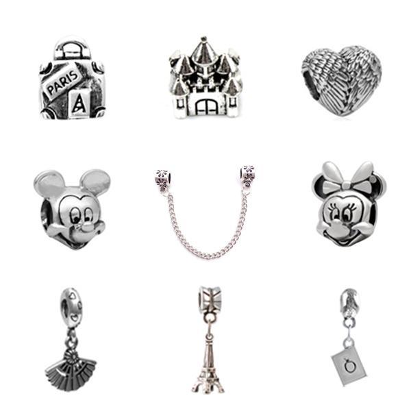 top popular 10pcs Of Each Charm Bead Micky Feather Fan Castle Alloy Pendant 925 Silver Plated Fashion Women Jewelry European Style For Pandora Bracelet 2019
