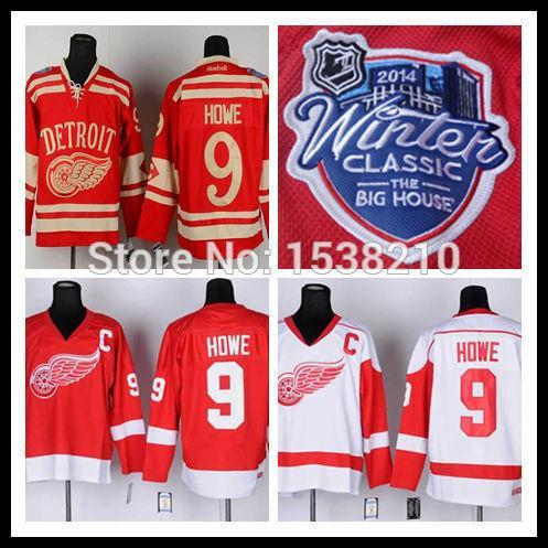 Wholesale 2014 Winter Classic Ice Hockey Jerseys Detroit Red Wings #9 Gordie Howe Jersey C patch Best Embroidery Logo