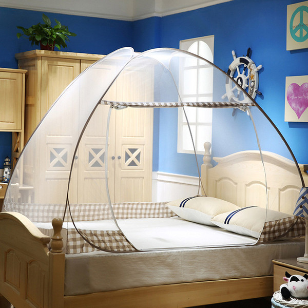 Summer Mosquito Net for Bed Portable Storage Dome Bed Curtain Mongolian Yurt Mosquito Net Double Door Zipper Bed Canopy JQ0044