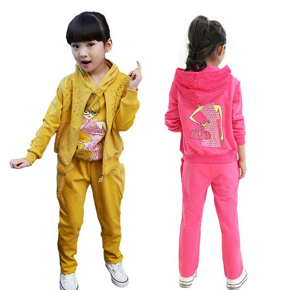 Children 3 piece Sports Suit For Girls Clothing Set Long Sleeve Autumn Floral Print Child Hooded Jackets & Pants Kids Clothes Sportswear