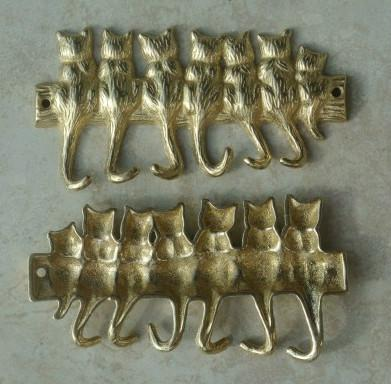 2 Pieces Small Copper Brass 7 Cats Key Hook Rack Home Organization Metal Hat Coat Keys Storage Holder Hanger Wall Free Shipping