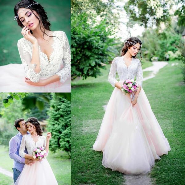 Weiß und hellrosa Brautkleider Lace V-Ausschnitt halbe lange Ärmel Garten Brautkleider Tüll eine Linie bodenlangen Sommer Brautkleider