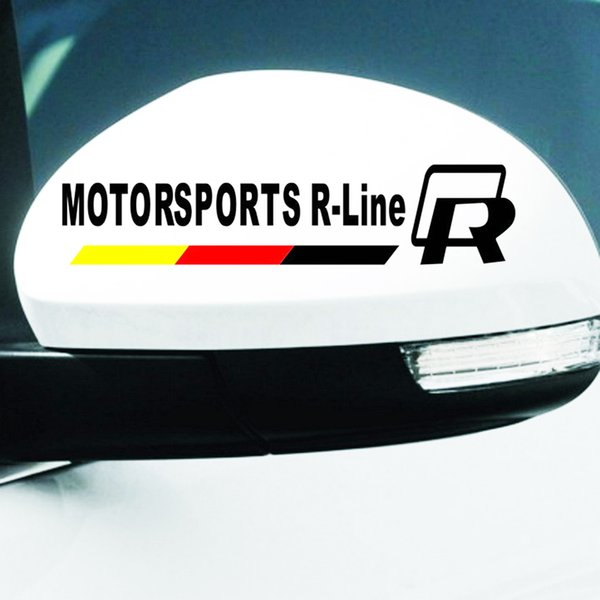Brand 2pcs/set R MOTOR SPORTS R-Line Car Stickers for Volkswagen VW Car Rearview Mirrors Automobiles Exterior Car-Styling