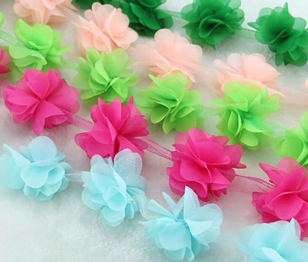 10Yard 3D Flower Chiffon Lace Fabric Trim Ribbon For Apparel Sewing DIY Bridal wedding Doll Cap Hair clip
