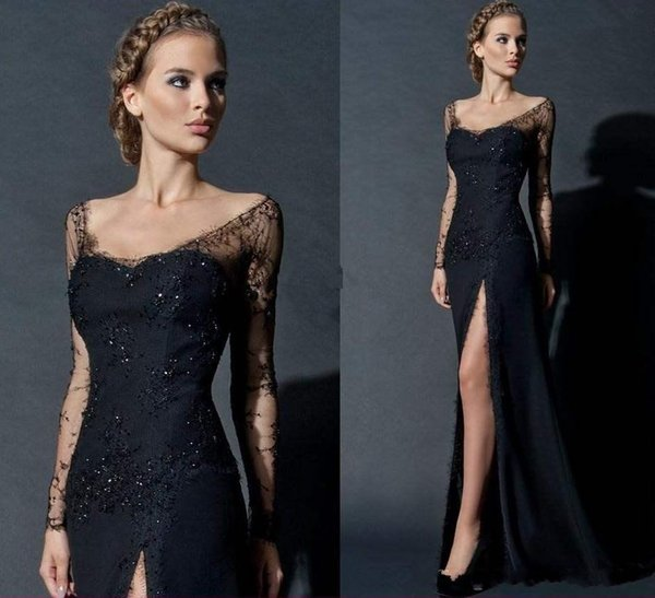 Elegant Split Evening Dresses With Long Sleeves 2016 Scoop See Through Mermaid Occasion Party Prom Dress Mother Of Bride Gowns Plus Size