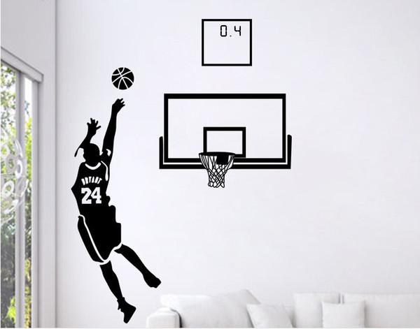 Free Shipping: Small Middle Large Black 3D DIY Photo No.24 Basketball Player PVC Decals/Adhesive Family Wall Stickers Mural Art Home Decor
