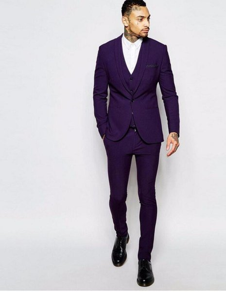 New Arrival Custom Made Purple Mens Suits Groom Tuxedos Groomsmen Wedding Blazer Suits For Men (Jacket+Pants+Vest)