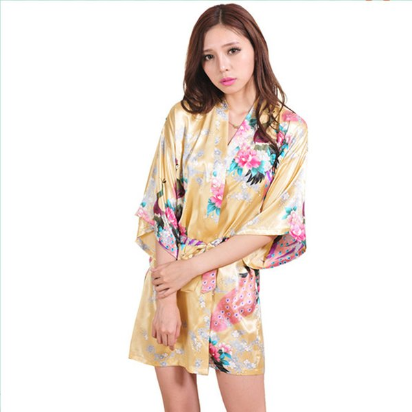 61aac6e29c Wholesale-New Arrival Gold Female Printed Floral Kimono Dress Gown Chinese  Style Rayon Robe Nightgown Flower S M L XL XXL XXXL 20160412